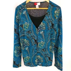 **3/$15** JM collections small teal blouse